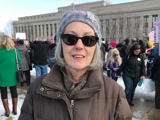 Kelly Johnson, from Carlisle, attended the Women's March on Washington — Indiana on Saturday, Jan. 20, 2018.