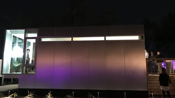 A night view of Kasita mini-home at SXSW Interactive