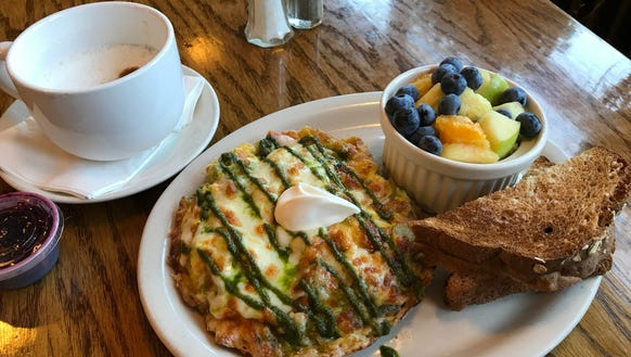 A vanilla latte and the Gramma Crabby fritata from