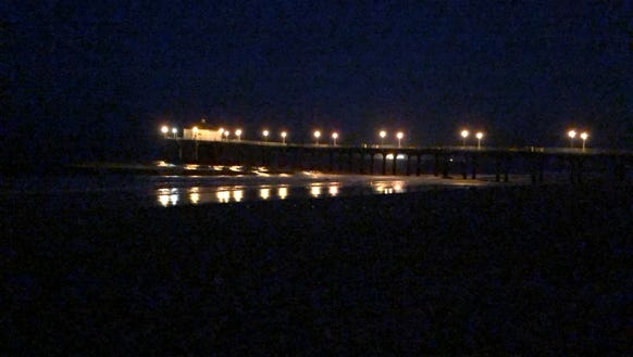 The Manhattan Beach Pier at 5:55 a.m. in a low light