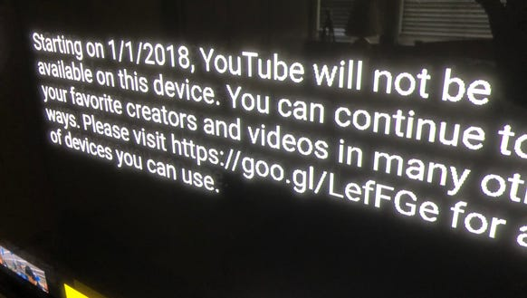 Amazon's note to FireTV users that they can't watch