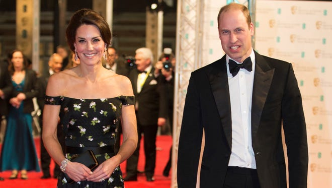 Prince William and Duchess Kate of Cambridge attend the British Academy Film Awards (BAFTA ) at the Royal Albert Hall in London, Feb. 12, 2017.