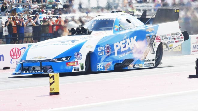 Drag-racing legend John Force gets a start off the line during the 2018 AAA Texas NHRA FallNationals at the Texas Motorplex. The FallNationals will return to the Motorplex Oct. 14-18.