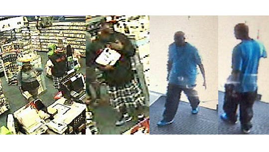 The Reno Police Department released these photographs of suspects in burglaries at the Apple Store and GameStop at the Summit Sierra Mall in south Reno.