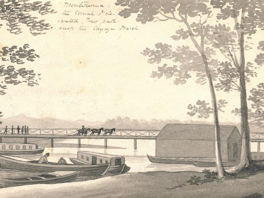 In this 1825 drawing provided by the University of Michigan's William L. Clements Library, a sketch of a section of the Erie Canal by Episcopalian minister John Henry Hopkins is shown. Art Cohn, director emeritus of the Lake Champlain Maritime Museum, is traveling New York's Erie Canal and exhibiting rare prints.