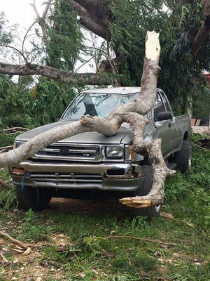 Rita Ann Torres shared this photo taken Aug. 3 of a tree limb fallen on a truck in As Lito, Saipan. The damage was caused by Typhoon Soudelor.