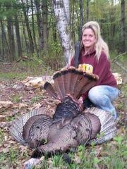 Cindy Nievinski with her spring turkey.