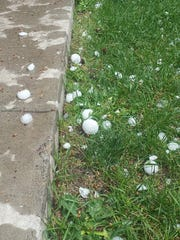 Large hail was part of a storm that moved through Stockett Friday afternoon about 3 p.m.
