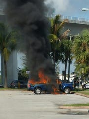 Stuart Fire Rescue extinguished a fire that fully engulfed a pickup truck Tuesday morning.