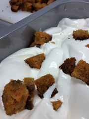Area 51's house-baked Carrot Cake in Cream Cheese Ice Cream.