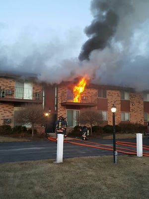 Dozens of residents of a Greenfield apartment building were displaced by a fire that caused extensive damage Monday morning to eight units. No injuries were reported.