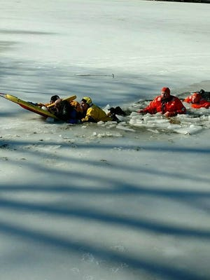 Police and fire officials rescued a fisherman who fell through the ice on Lake Hopatcong Sunday.
