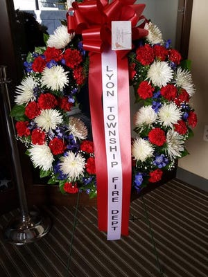 The wreath presented at the Tomb of the Unknowns in Arlington National Cemetery on behalf of the Lyon Township Fire Department.