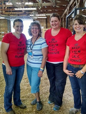 "Bonnie Borden has been a ""go-to"" leader at the Dodge County Fair for many years. Leaning on Borden (second from left) for help are (from left) Linda Behling, Mandy Sell and Sarah Wendorf."