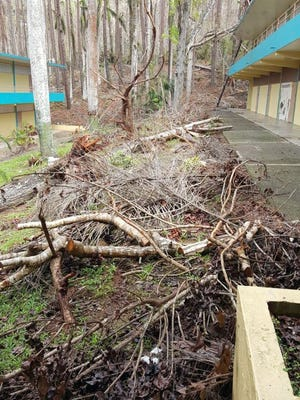 Damage done to a school in Barranquitas, Puerto Rico. A Paterson group has adopted the school.
