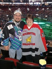 Knighthawks fans Jason and Melanie Childers, who live