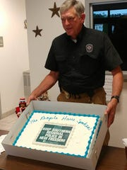 Southern Regional Police Chief Jim Boddington holds a cake supporting the department in New Freedom Wednesday, June 6, 2018. Photo courtesy of Tim Smith.