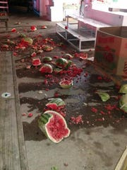 The historic Fisher's Peach Orchard stand was vandalized