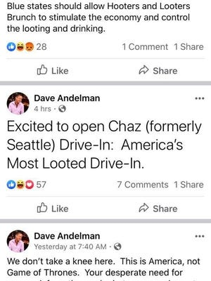 A screenshot shows the comments Dave Andelman, the CEO of the Phantom Gourmet and co-owner of the Mendon Twin Drive-In, posted on his personal Facebook page. The screenshots were captured and posted by Kristen George.