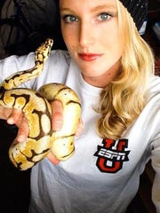 Greenville's Sandi Morris with one of her five pet snakes.