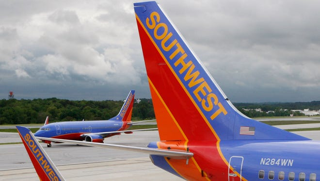 Southwest Airlines jets at Baltimore/Washington International Airport on May 16, 2008.