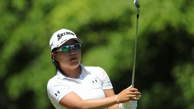 Nasa Hataoka watches her shot from the seventh tee during the second round of the LPGA Volvik Championship at Travis Pointe Country Club.