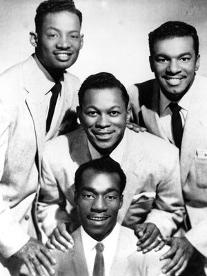 """Members of the doo-wop group """"The Platters"""" are shown in 1959.  The musicians are, Irvin Robi, top left; David Lynch, top right; Tony Williams, center; and Herbert Reed."""