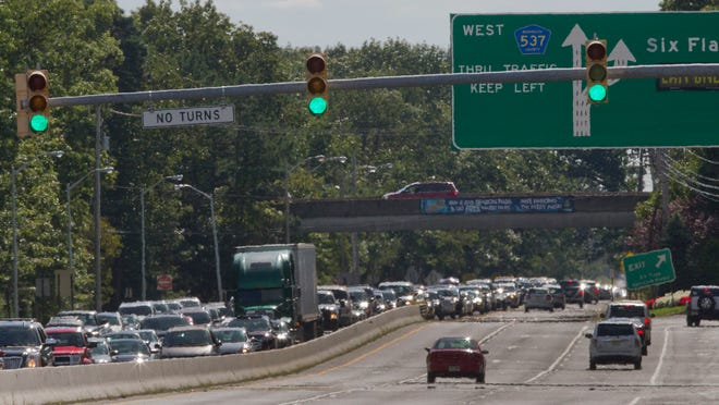 Snarled Traffic on Route 537 in area of Great Adventure on September 14, 2014. Peter Ackerman/Staff Photographer