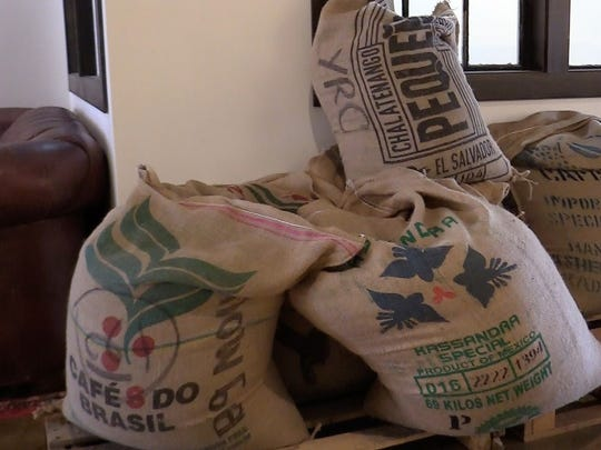 Bags of coffee beans at Big Mouth Roasters on Main