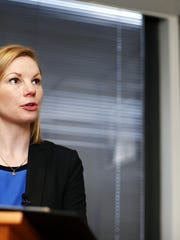 State Auditor Nicole Galloway, a Democrat running for governor, speaks with the media during a visit to Springfield in this file photo.