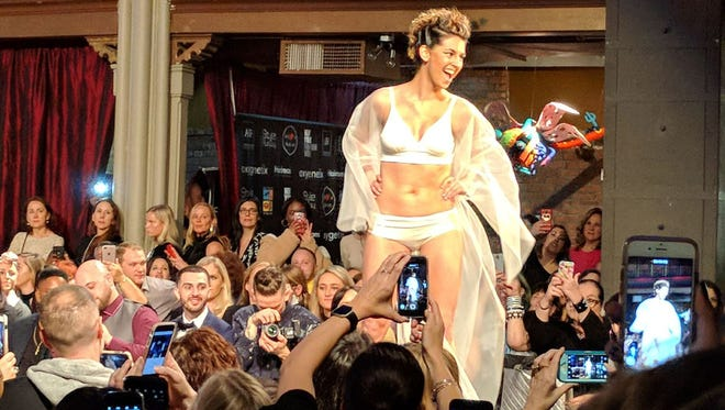 """Oregon resident and cancer survivor, Kara Skaflestad, modeled the MAKEMERRY bra at New York Fashion Week earlier this month. The ultra-soft bra was designed by Kaiser Permanente oncologist, Dr. Katie Deming, specifically for women undergoing breast cancer treatment."""""""