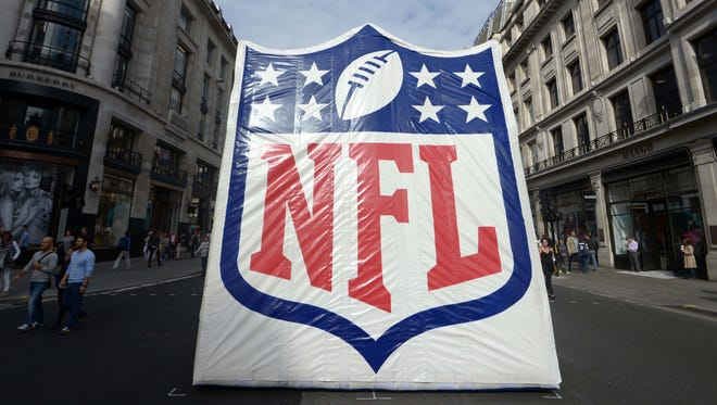 General view of NFL shield logo at NFL on Regent Street in advance of the International Series game between the Miami Dolphins and the Oakland Raiders.
