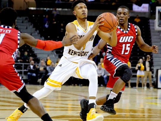 Northern Kentucky Norse guard Mason Faulkner (11) scored