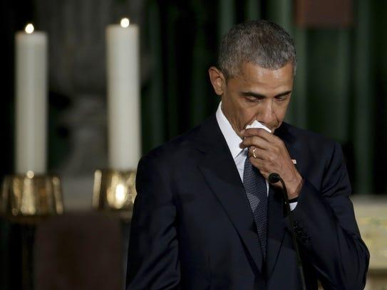 President Barack Obama delivers the eulogy in honor