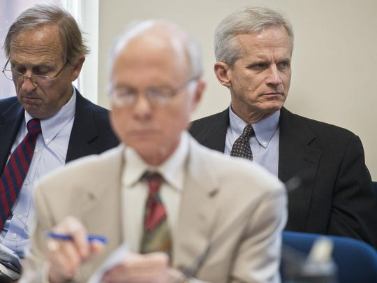 CEO Don Rendall listens to testimony from Vermont Gas Vice President Eileen Simollardes Tuesday during the second day of hearings before the Public Service Board.