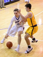 Bryce Root of Fremont Ross handles the ball Friday against Whitmer.