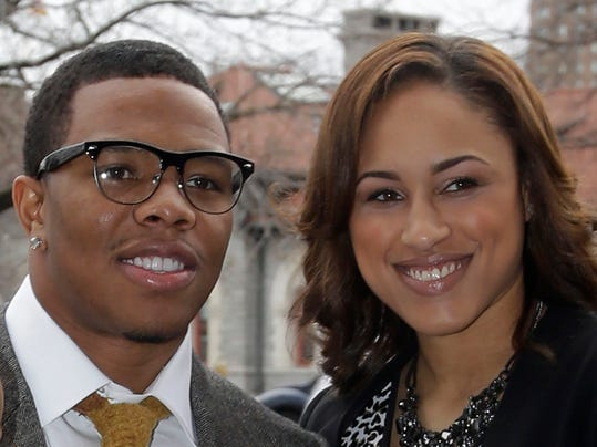FILE - In this March 11, 2013, file photo, Baltimore Ravens running back Ray Rice, left, stands with Janay Palmer in Baltimore as they arrive for a screening of a new film released on DVD that chronicles the team's championship NFL football season. Rice has been indicted on a charge he assaulted Palmer, his fiancee, during an argument in an elevator at an Atlantic City, N.J., casino last month. Rice had been charged with simple assault after police said he knocked out Palmer. But a grand jury Thursday, March 27, 2014, indicted him on a more serious count of aggravated assault, which carries a three-to-five-year sentence. (AP Photo/Patrick Semansky, File)