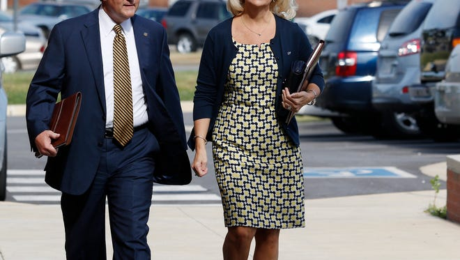 Mike Hubbard and Susan Hubbard walk to the Lee County Justice Center for closing arguments in the Alabama Speaker Mike Hubbard Trial on Friday, June 10, 2016  in Opelika, Ala.Todd J. Van Emst/Opelika-Auburn News/Pool