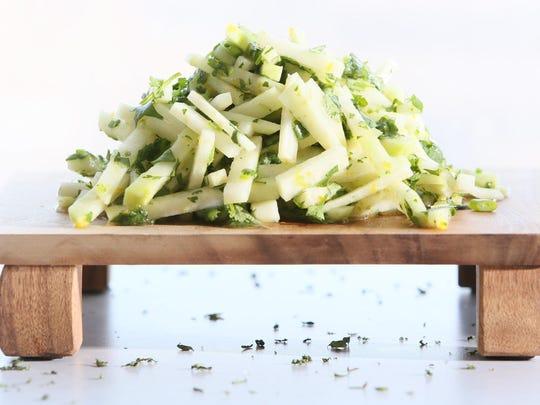 Kohlrabi Salad with Cilantro and Lime.