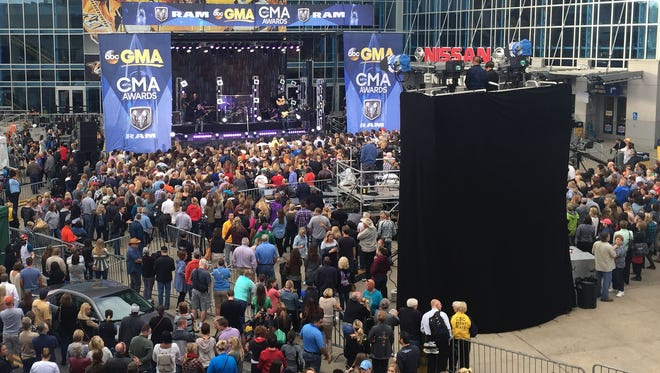 ABC's Good Morning America and Tim McGraw kicked off CMA Awards at Bridgestone Plaza on Wed. morning on Nov. 4, 2015.