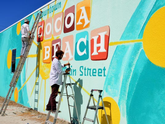 New downtown cocoa beach mural takes place of 39 the castle 39 for 6 blocks from downtown mural