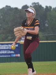 Natchitoches Central pitcher Madison Holmes (2) tosses