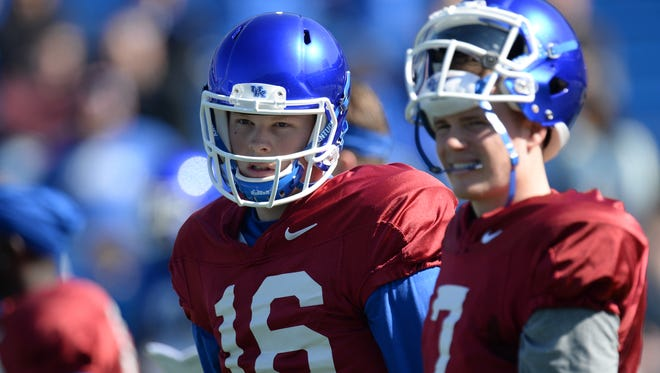 QB Davis Mattingly (Left) stands next to QB Drew Barker during the UK spring football practice at Commonwealth Stadium in Lexington, Ky., on Saturday, March 26th, 2016.