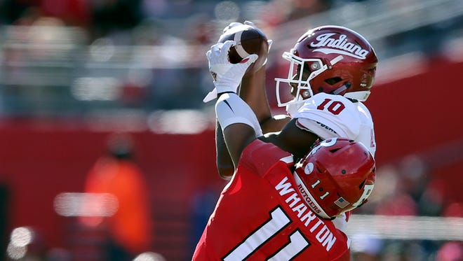 Donavan Hale (10) was among a number of IU receivers to make big plays for Richard Lagow.