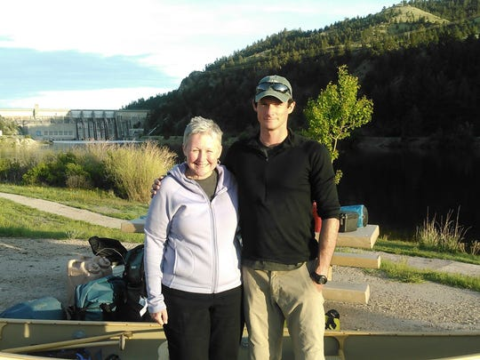 Leslie Laurie-Nicoll and her son Kris Laurie at the start of a 481-mile stretch on the Missouri River near Helena, Montana.
