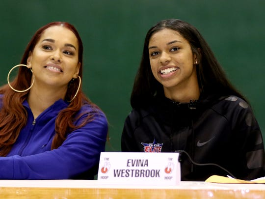 Evina Westbrook and her mom Eva Westbrook survey the crowd of more than a hundred people before she signed a letter of intent to play basketball for the University of Tennessee. The South Salem senior has been named the best female guard in the country by ESPN. Photographed at The Hoop in Salem on Thursday, Nov. 10, 2016.