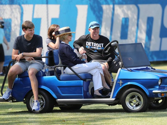 Lions owner Martha Ford watches training camp practice with Lions general manager Bob Quinn on July 31, 2017 in Allen Park.