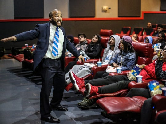 Jelani Jabari gives a talk before the VIP screening