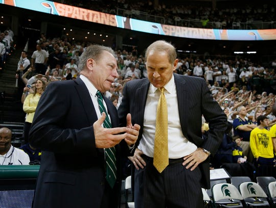 Michigan State coach Tom Izzo, left, and Michigan coach