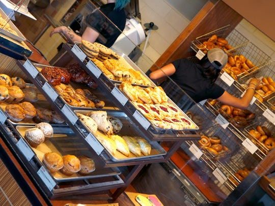 A view of some of the pastries at the Panera Bread